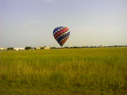 When the Hot air balloon is full of hot air, and fully inflated, their enough hot air to lift the balloon, the basket and its passengers into the air.