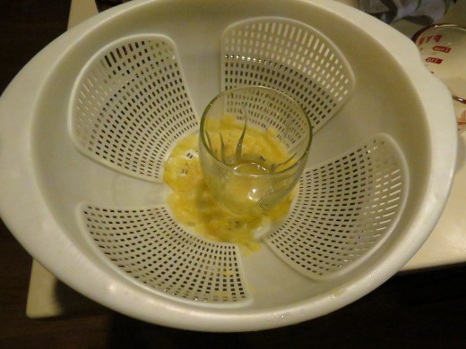 Press the juice from the shredded pineapple before adding it to the ground beef.  I had to use a glass and a strainer.