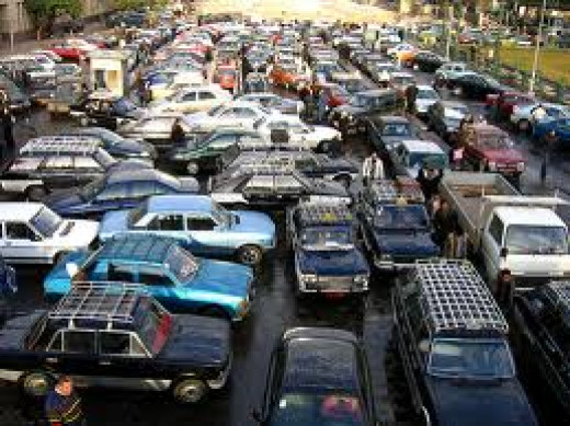 Actual traffic jam in Cairo, Egypt
