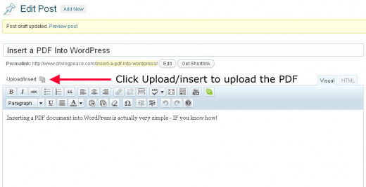 Click the upload/insert button to upload PDF to WordPress