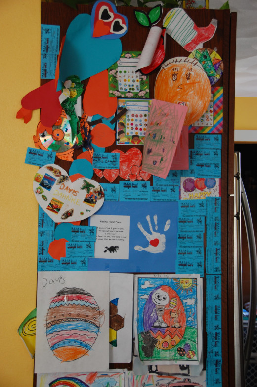 my son's art wall, some art is from school and some is from home