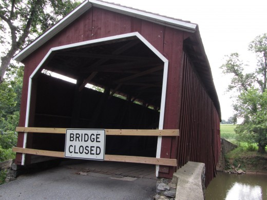 The Pinetown Bushong's Mill Covered Bridge damaged by a Tropical storm in 2011