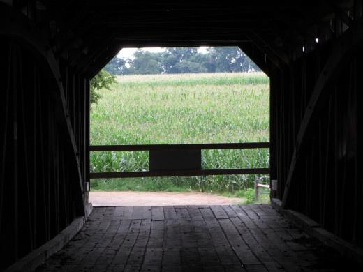 Looking out of the Pinetown Covered Bridge