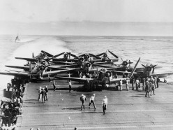 Douglas Dauntless dive bombers on the flight deck of the USS Enterprise during the Battle of Midway on June 5,1942.