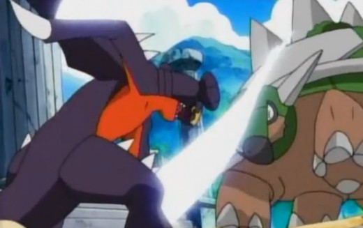 Cynthia's Garchomp attacking Paul's Torterra with break brick.