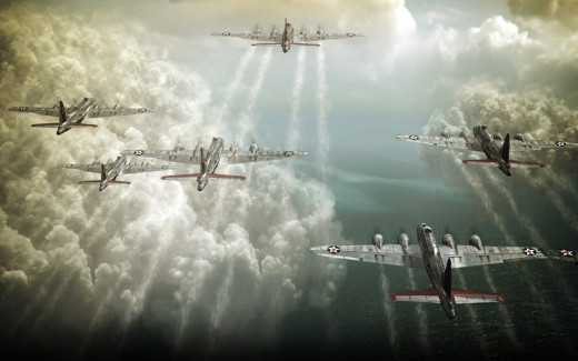 A painting of USAF B-17s.