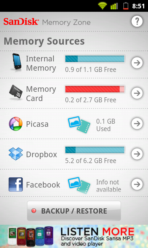 SanDisk Memory Zone also allows you to manage your physical storage such as internal memory and micro sd card.