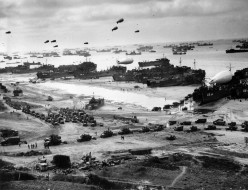 LSTs (Landing ship, tank) landing supplies on the beaches of Normandy on the morning of June 6,1944.