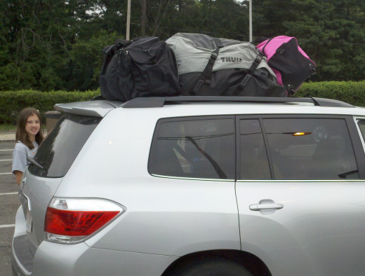 Bags strapped on the top.  The Highlander drives nice, but offers very little luggage room!