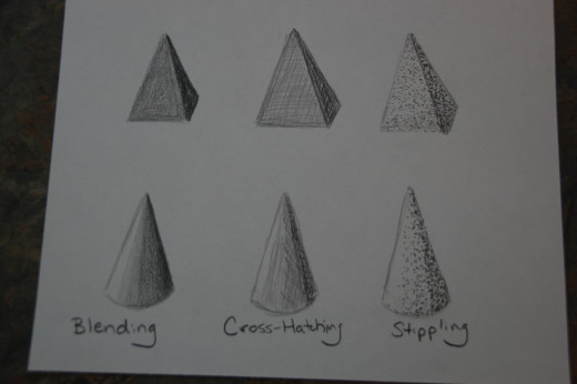 Shaded pyramids and cones