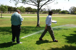 Water audit with consultant (on right) and grounds manager (left).