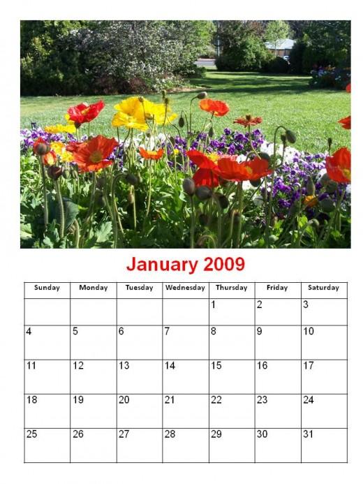 printable calendars. 2009 Flowers Calendar