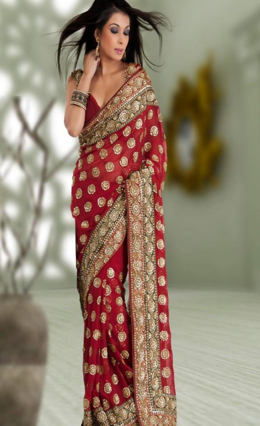Rich Maroon Faux Georgette Saree with Blouse