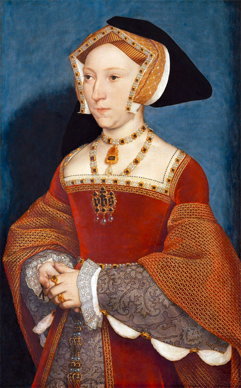 A portrait of Jane Seymour by Hans Holbein.