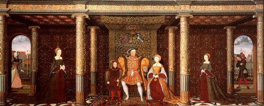 """The Family of Henry VIII"". (L-R) Mother Jack, Lady Mary, Prince Edward, King Henry VIII, Queen Jane, Lady Elizabeth and Will Somers. This painting was completed when the King was actually married to his sixth wife."