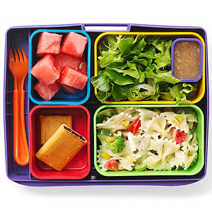 Pasta salad, salad, fruit, fig cookies
