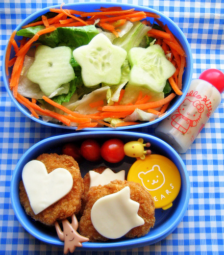 Chicken nuggets, salad lunch