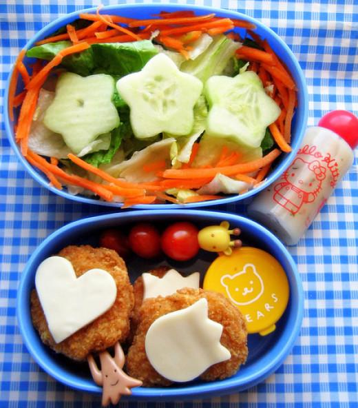 Chicken nuggets, salad lunch