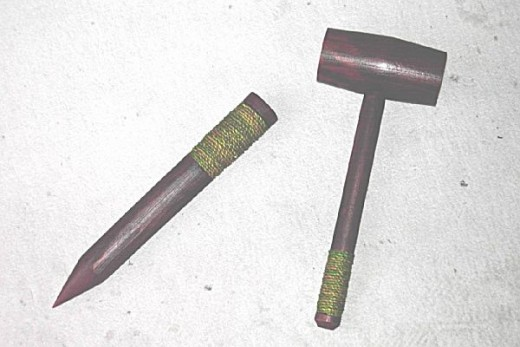 A stake and hammer