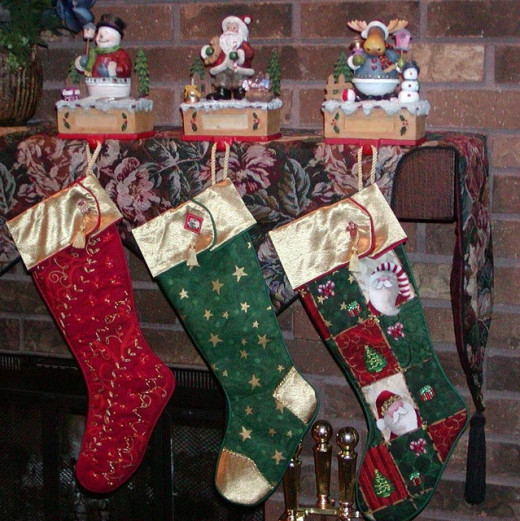 Christmas stockings hung by the fireplace are a centuries old tradition.