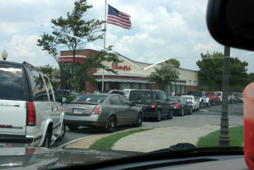 Photo of a local Chick Fil A on August 1st