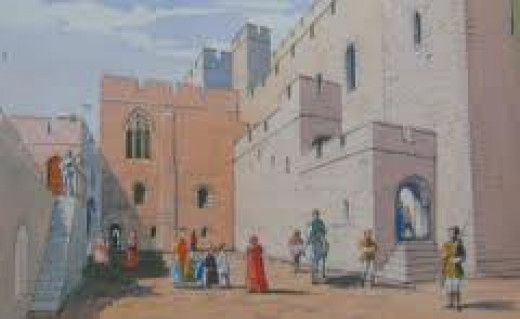 Drawing of Middleham Castle's courtyard in its heyday - you can see the clean lines of the main and outer buildings in this view