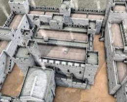 Seen from above, the  keep stands central to the stronghold, defendable until later in the Civil War royal castles were rendered unfit for residence as bolt-holes for royalist resistance