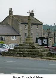 The stump of the market cross, Middleham. You'll witness everything from here in the course of an hour on market day