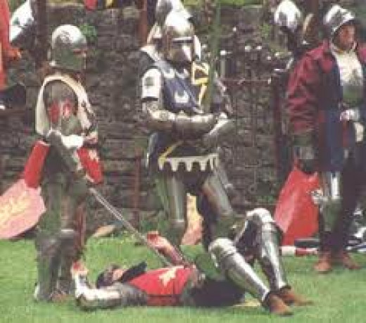 Late mediaeval re-enactment at Middleham castle by people dedicated to historical accuracy in portraying the era