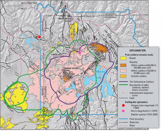 Geologic information regarding Yellowstone Caldera. From USGS