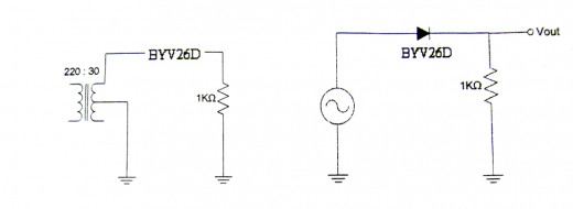 half-wave rectifier set-up