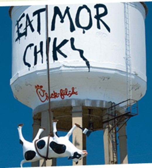 One of the humorous Chick-fil-A cow ads.