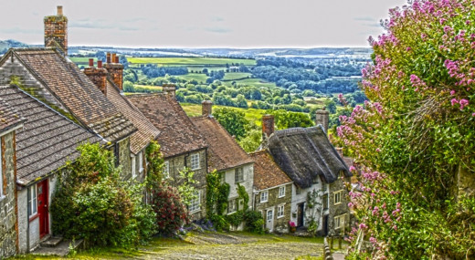 Gold Hill in Shaftesbury. Many TV adverts have been shot using this street. The 'Hovis'  ad brings back many memory's.