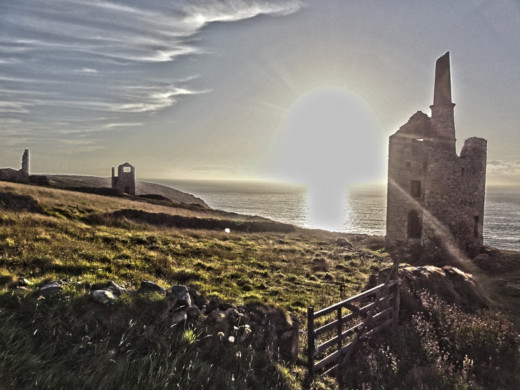 Ruins of tin mines at St Just in Cornwall.