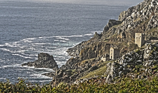 The abandoned Botallack tin mines in St Just. Cornwall.