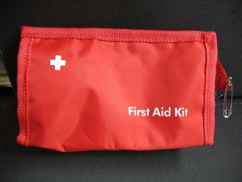This is an example of a basic first aid kit.
