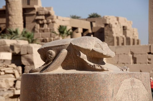 Scarab beetle statue in Karnak temple, Luxor, Egypt