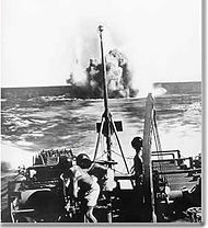 Brazilian Navy using depth charges aimed at U-boats