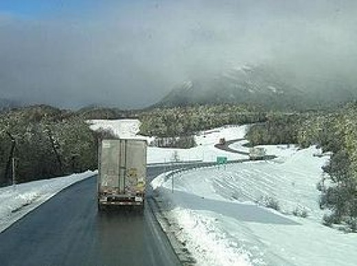 The Puyehue Pass near Osorno, now called Cardenal Samore Pass, in Winter