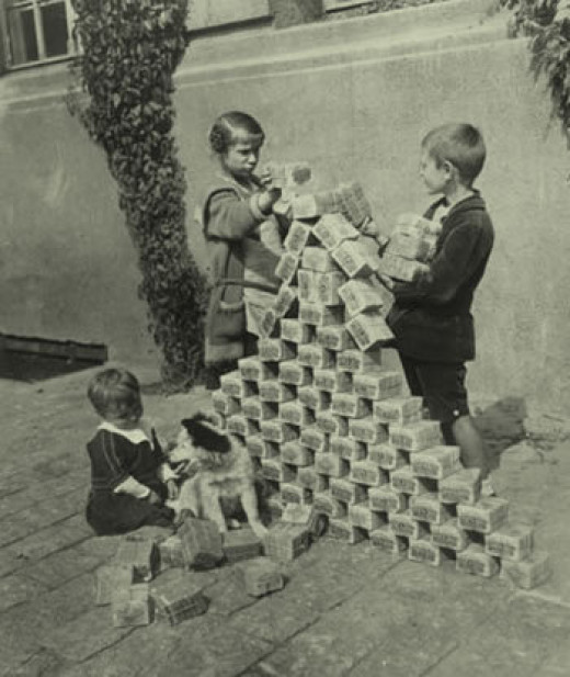Some children playing with money made worthless by the hyperinflation of 1923