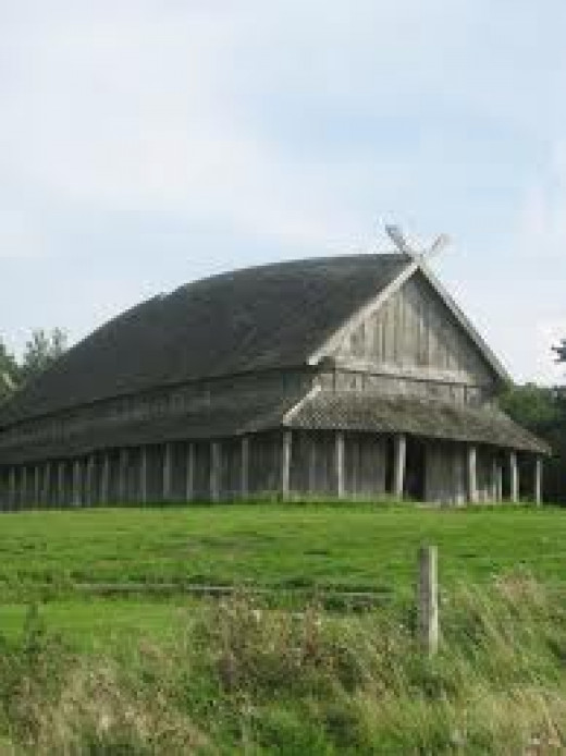 A Danish longhouse, a noble's hall that also housed his retainers