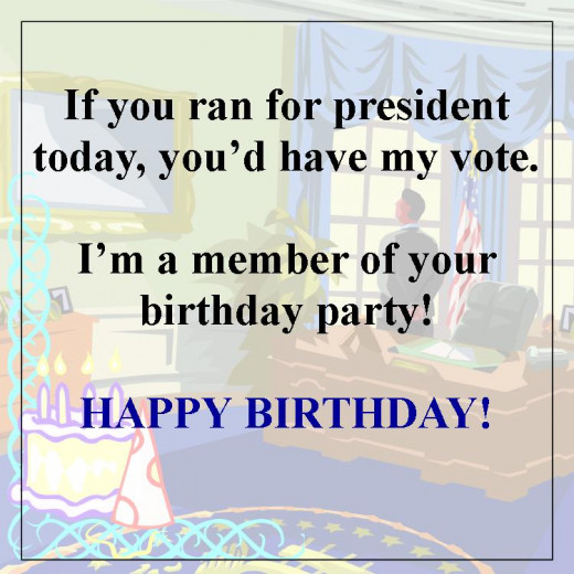 Forget the Republicans and Democrats and vote for the Birthday Party.  It's much more fun.