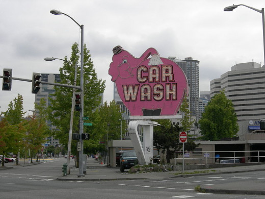 A unique car wash sign in Seattle, Washington