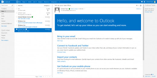 Outlook.com interface