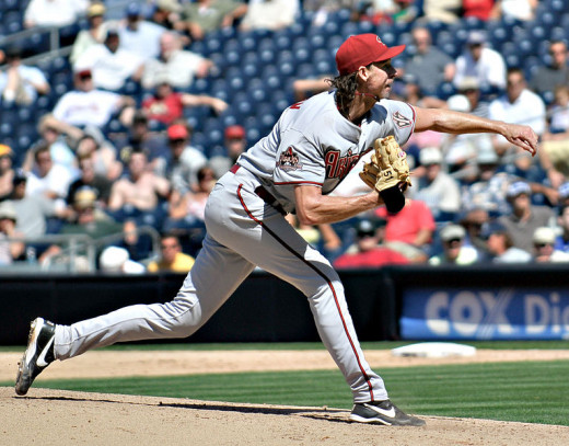 Randy Johnson (The Big unit) pitching for the Arizona Diamondbacks