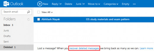 Deleted email recovery