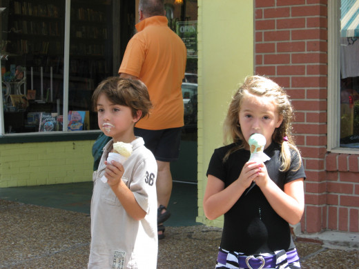 Tristan and Audrie enjoy ice cream from Fantastic Fudge.