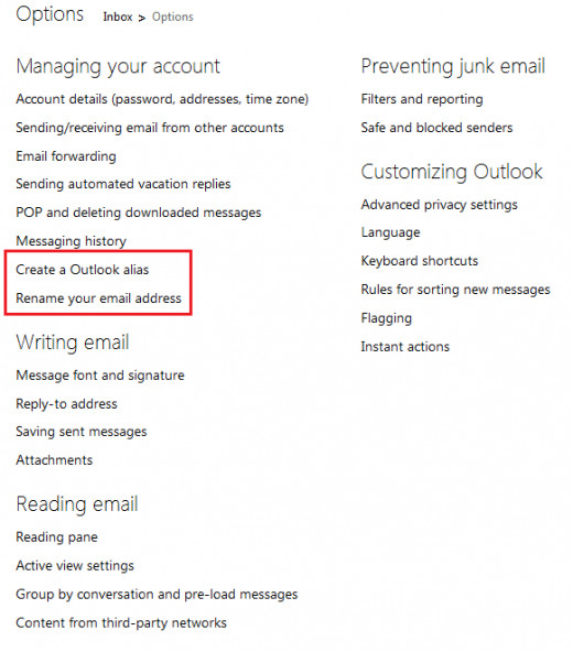 List of Email settings