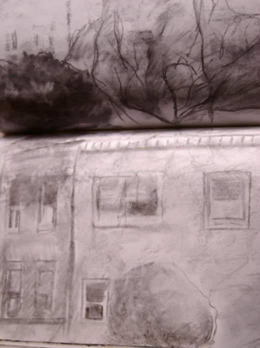 Charcoal sketch of house on my street at dusk.  Sketches don't have to be perfect!