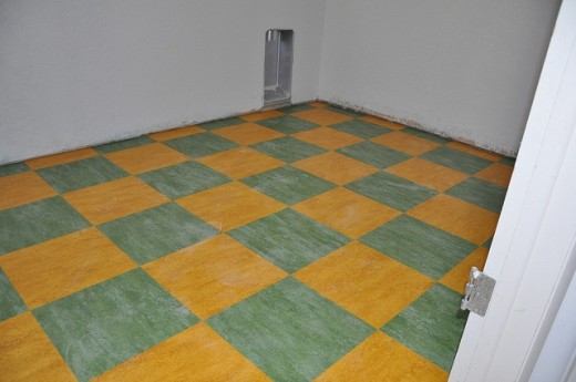One of the pros of marmoleum flooring is that it can be used in a variety of creative designs.